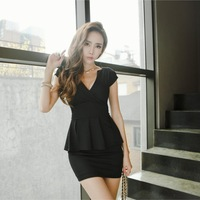 2014 new hot fashion women clothing cotton cute lace casual vintage career sheath sheath mini sexy dress V-neck wild JU