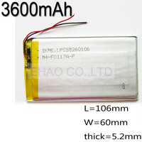 3.7V 3600mAh 5260106 Lithium Polymer Rechargeable Battery For GPS DVD PAD Power bank dvd PSP Mobile Pocket Tablet PC e-books