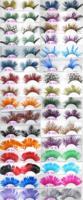 Colorful Fashion Feather Handmade False Eyelashes Party Gorgeous Exaggeration Eyelash Stage Makeup mix order 50 pairs/lot