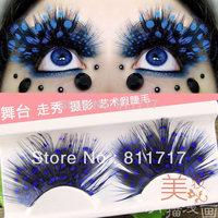 Colorful Fashion Feather Handmade Eyelashes False Eyelash Party Gorgeous Exaggeration Stage Makeup mix order 10 pairs/lot