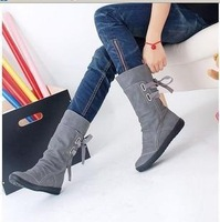 2013 female casual elevator flat heel long knee high snow boots women winter rain thick heel riding boots oxford wedges shoes