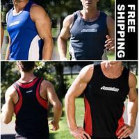 Hot!! Mesh Breath Sport Men shirt Sleeveless T shirt Gym Wear  4 Colors Available 2pcs/lot Size S M L XL  --  Free shipping