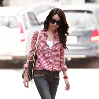 hot  free shipping 2013 spring women's plaid shirt casual plus size women's shirt all-match long-sleeve shirt