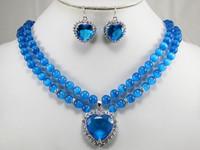 Free shipping Fashion Women Jewelry Set Silver plated 8mm Blue Opal Heart Pendant Necklace Earrings