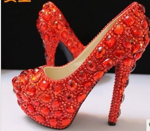 Crystal high heel bride rhinestone pearl wedding dinner princess plus size single shoes wedding pumps(China (Mainland))