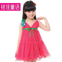 Children's clothing child 2013 female child spaghetti strap one-piece dress summer lace gauze dresses child princess dress