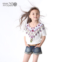 Pptown children's clothing female child t-shirt summer 2013 baby child t-shirt 0711