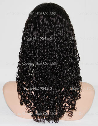 [QD Queen Hair] Water Wave Pure Indian Remy Hair Stock Full Lace Wig(China (Mainland))