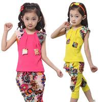 Children's clothing female child summer set fashion 100% cotton chiffon print capris patchwork set