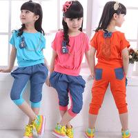 Children's clothing female child summer child short-sleeve shorts capris set sports 100% cotton casual sports set