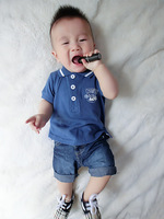 Fashion baby child summer short-sleeve bright color turn-down collar short-sleeve T-shirt