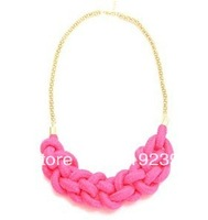 KN76 2013 Fashion Items Handmade Knitted Cotton Rope Candy Neon Color Gold Chain Necklace Women Statement Jewelry Accessories
