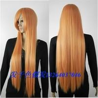Leecos wifing eva orange cosplay long straight hair