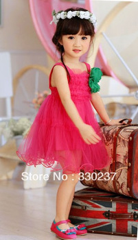 3 Colors,5 Size ,Free Shipping Korean Girls Children's Clothing Wholesale Oversized Flower Mesh Strap Dress Factory Direct Sale(China (Mainland))