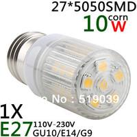 1X  E27/E14/G9 27 LED 5050 SMD 10W High Power LED Corn Bulb White / Warm White LED White Stripe mask 110V and 220V