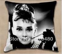 Free shipping!!! Fashional Polyester Audrey Hepburn  pillow cover  cushion cover  design 40*40cm one side printing