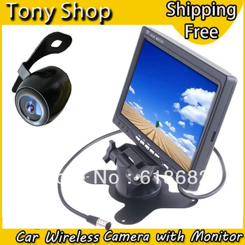 "2.4G Wireless Car Rear View Camera Kits with 7"" TFT LCD Monitor HD 800*480 2 Channel AV Input and 360 Degree Waterproof Lens"