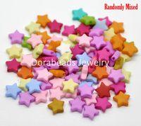 "Free Shipping! 500PCs Mixed Star Acrylic Spacer Beads 9x9mm(3/8""x 3/8"")(B19424)"