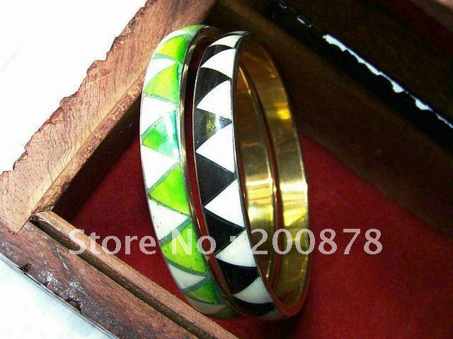 BB-142 Indian fashion colorufl slim bangle, Nepal brass inlaid colorful stone Bangle, mix order(China (Mainland))