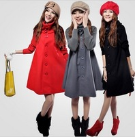 Plus size clothing trench maternity clothing medium-long loose woolen overcoat mantle type woolen outerwear