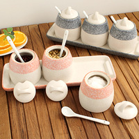 Personalized small storage tank seasoning bottle spoon ceramic spice jar set 4 33759
