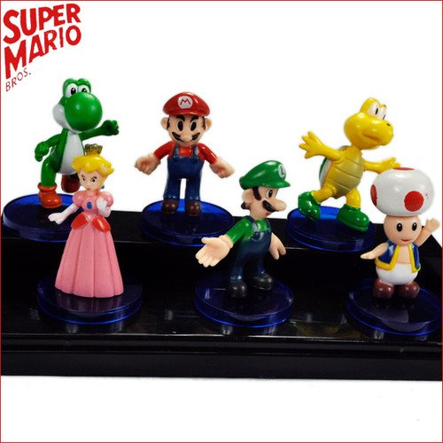 6 PCS New Super Mario Bros Plastic Figure Doll Toy Set(China (Mainland))