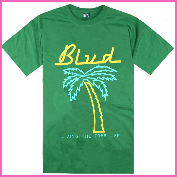 Stock Free Shipping New arrival Cheap green BLVD SUPPLY men's short T-shirt with most discount(China (Mainland))