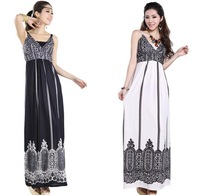 Summer Hot Sale Casual Fashion Women maxi Dress Bohemian Long Skirt Clothing black and white Palace Floral Print plus size