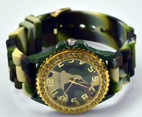 Army Green Military Geneva Fashion Ladies brand gift Classic Gel Crystal Silicone Jelly Women Mens Watch Gold Siver, Newest 2013