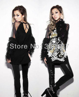 2014 Womens Fashion Punk Gothic Unique Hollow  Skull Dresses With transparent Long Sleeve For Gril/Lady Wholesale Dropshipping