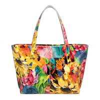 Bags 2013 female summer flower brief cowhide women's shoulder bag  fashion quality lady shoulder bag
