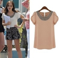 2013 fashion summer shirt short-sleeve chiffon beading ruffle sleeve chiffon top S M L XL XXL 5 sizes