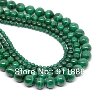 "Wholesale 16""Inch/Strand 4mm 6mm 8mm 10mm 12mm Green Synthetic Malachite Beads For Jewelry Making,Round Shape,Free Shipping"