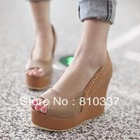 Fashion  blue/yellow/apricot high heel sandels platform Peep Toe Pumps easy dress gift women lady girl party free shipping