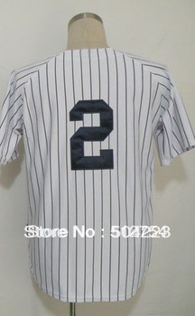 Free Shipping #2 Derek Jeter Men's Baseball Jersey,Embroidery and Sewing Logos,size M--3XL,Accpet Mix Order(China (Mainland))