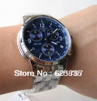 New Blue Dial Stainless Steel PRC200 Sport Mens Chronograph Quartz Watch T17.1.586.42,store/625835(China (Mainland))