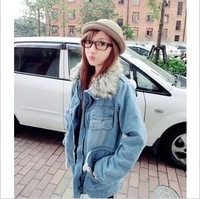 915 autumn and winter slim waist slim maomao collar thickening cotton overcoat denim cotton-padded jacket denim wadded jacket