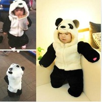 Freeshipping,1 pcs Retail!!top quality baby suit panda Model Boys girls long sleeve rompers Winter infant thick clothing CR005