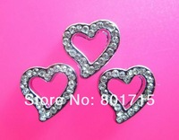 stocked Wholesale 50pcs heart 10mm slide Charms DIY Accessories Internal Dia.10mm Can through 10mm band free shipping