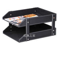 Double layer leather file holder data rack desktop 2 storage rack table commercial supplies