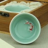tea fishing High-quality goods sale longquan celadon small cup color carp cup by hand bone china tea set 7*7*3.5cm seconds