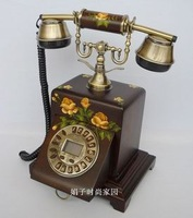 Solid wood antique telephone caller id hands-free rustic metal handle