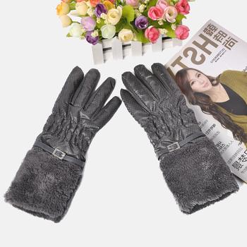 Pearl long gloves rabbit fur thickening winter ski gloves