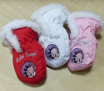 Baby boop child baby cartoon double layer thermal ski gloves red Pink white