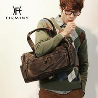 Lychee PU male shoulder bag large capacity travel bag
