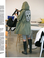 Free Shipping New Female Military Button Trench Skull Back Hooded Coat 1