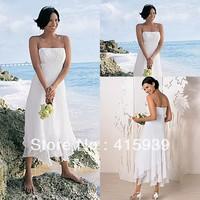 WATCH!!!Free shipping!Beach style spaghetti straps chiffon embroidery tea length wedding dress HS033