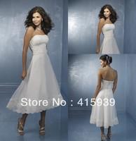 WATCH!Free shipping!Beach style sweetheart strapless lace tea length informal wedding dress HS035