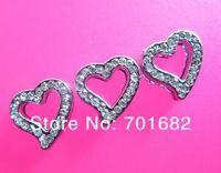 50pcs Internal Dia.10mm heart Slide Charms DIY charms zinc alloy rhinestone Can through 10mm band stocked free shipping