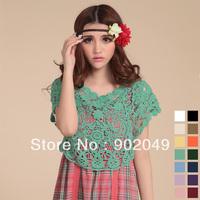 Summer women's 2013 short-sleeve cutout shrug sweater loose plus size lace shirt KV-042
